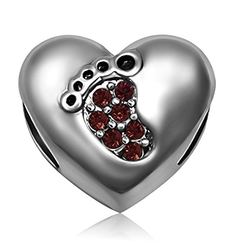 (JMQJewelry Love Beads Baby Heart Footprints Birthstone January Red Crystal Charms For European Bracelets)