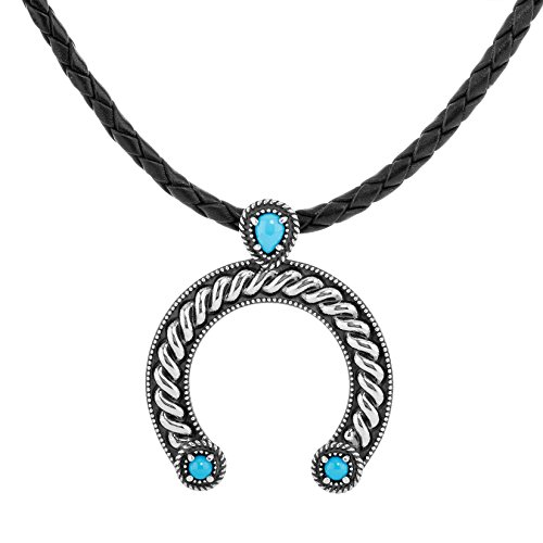 American West Sterling Silver Sleeping Beauty Turquoise Gemstone Naja Black Braided Leather Necklace 16 to 18 Inch