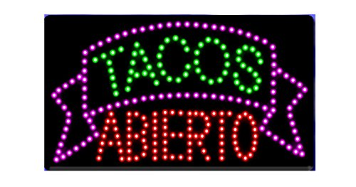 LED Tacos Tortas Burritos Open Light Sign Super Bright Electric Advertising Display Board for Message Business Shop Store Window Bedroom 19 x 10 inches (11) -