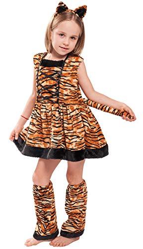 COSLAND Girls Tiger Costume Tigress Dress Carnival (Tiger, Medium)