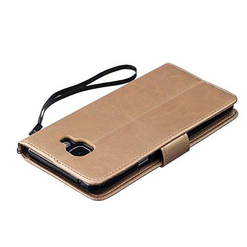 JIALUN-Personality teléfono shell Funda Samsung A510 para Samsung A510, cubierta de la caja de cuero Premium PU de alta calidad Funda de la caja del soporte del monedero para Samsung A510 A5 en color  Gold