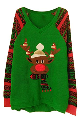 Viottis Women's Oversize Animal Christmas X-mas Pullover Knitted Sweater (L, Green Reindeer) (Kids Ugly Christmas Sweater)