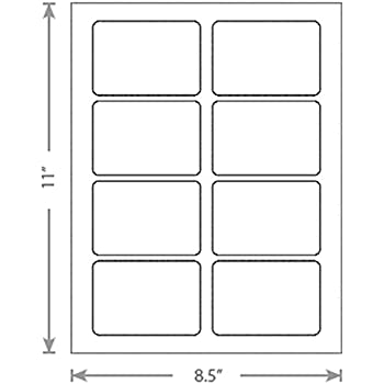 7c5666d698ebe 100 Sheets of White Laser Inkjet 3.25x2.25 Square-Edged Name Badge Labels  Labels 8 Labels Per Sheet 800 Labels Total