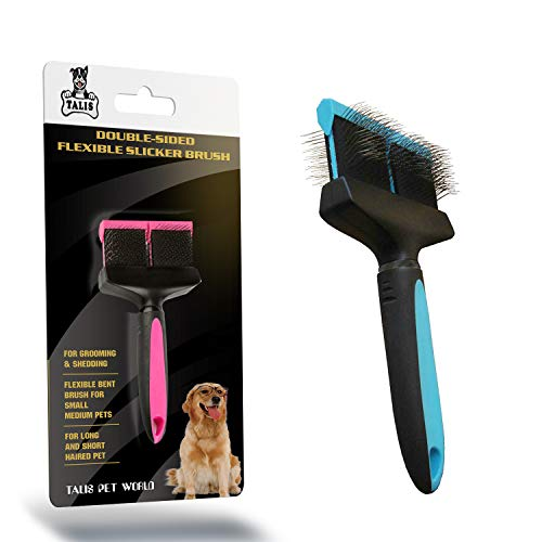 Talis-us LLC Double-Sided Pet Brush for Grooming & Shedding | Double Slicker & Soft Bristle Fine Flexible Bent Brush for Small Medium Cats, Dogs & Other Animals | Long and Short Haired Pet (Pink)