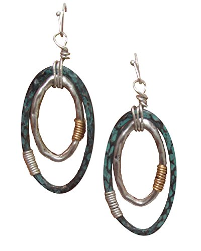 Boho Distressed Beaten Textured Silver-Tone & Patina Finish Open Work Double Oval Dangle Earrings 2 3/16""