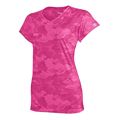 Champion Women's Essential Double Dry V-Neck Tee_Wow Pink (Champion Women Double Dry Gym)