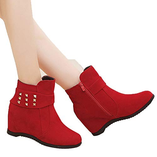 Farjing Platform Wedge Heel Boots Women Shoes Increased Platform Fashion Ccasual Boots(US:7,Red)