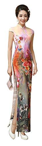 Womens Chinese Silk Cheongsam Dress - 1
