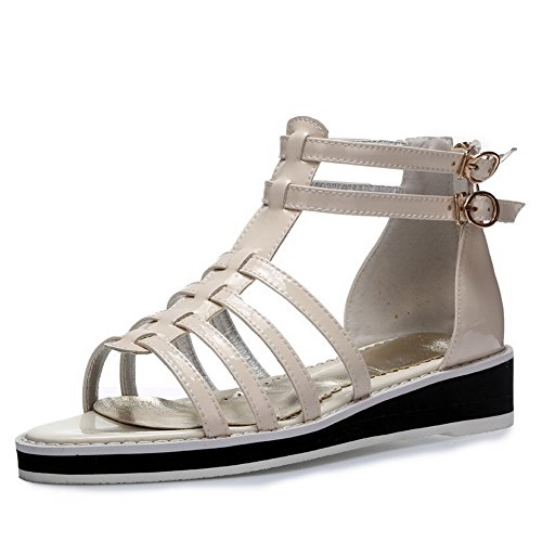 AllhqFashion Womens Open Toe Low Heels Patent Leather Solid Pull On Sandals White mecut7