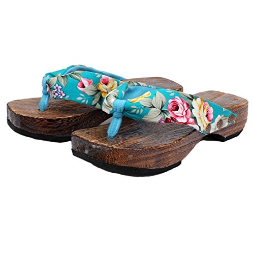 Flips Sole Womens Sandals (Ainiel Woman's Japanese Traditional Clogs Geta Sandals (39 (US8.5), Light Blue))