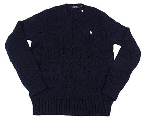 Polo Ralph Lauren Men's Crew-Neck Cotton Cable Sweater (XL, Hunter Navy/White Pony)