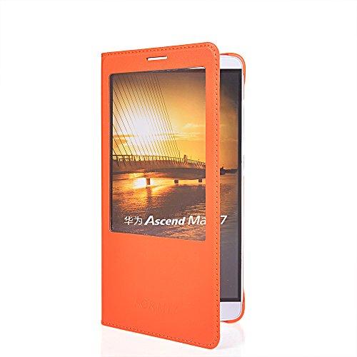 Ascend Mate 7 Fundas,COOLKE [Gold] Flip View Cover PU Cuero Con Soporte Plegable y Ranura para tarjeta Cartera Carcasa Funda Tapa Case Cover para Huawei Ascend Mate 7 Naranja