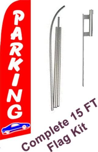 Includes 12 Swooper Feather Business Flag With 15-foot Anodized Aluminum Flagpole AND Ground Spike NEOPlex Parking Complete Flag Kit