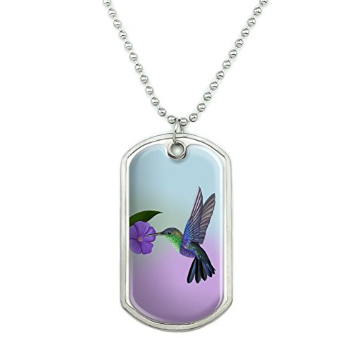 GRAPHICS & MORE Hummingbird Crowned Woodnymph Purple Violet Military Dog Tag Pendant Necklace with Chain