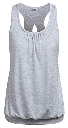 Ninedialy Banded Bottom Tops for Women,Gym Tops for Women Loose Fit Hollow Out Cool for Summer Daily Plus Size XXL Womens Tops Workout Tunic Tank Hiking/Tennis/Climbing Plus Wear Moisture Wicking Gray