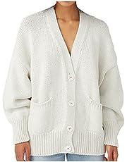 Darringls Gebreid vest voor dames, lange mouwen, met knopen, vlechtpatroon, grof gebreid, cardigan, elegante V-hals, gebreide jas, herfst, winter, gebreide cardigan, bovenstuk, outwear, gebreide trui, mantel