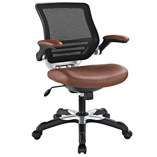 Modway Edge Mesh Back and Tan Vinyl Seat Office Chair With Flip-Up Arms - Ergonomic Desk And Computer Chair