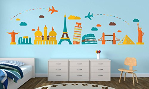 World Travel Famous Landmarks Wall Decal - 89'' x 25'' by AK Wall Art