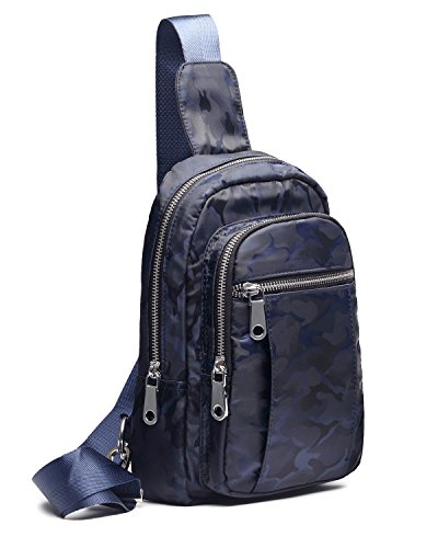Sling Bag Single Shoulder Backpack Crossbody Bag Daypack Nylon Waterproof Lightweight Women Men Unisex Riding Travel Camouflage Navy from Pnvocny