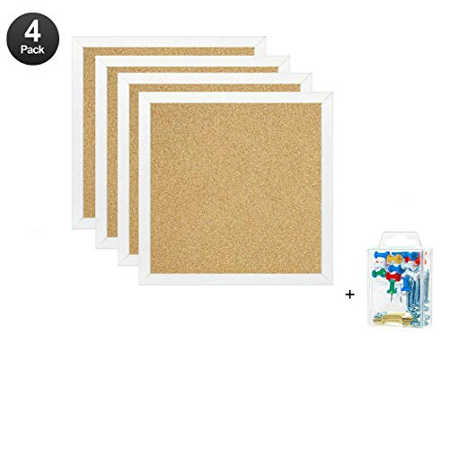 "Bulletin Boards, Mini Wall Modular Elegant Boards 4 Pack Cork Bulletin Board Cork Board 12""X 12"" Square Wall Tiles, Modern Black Framed Boards for School, Home & Office (White)"