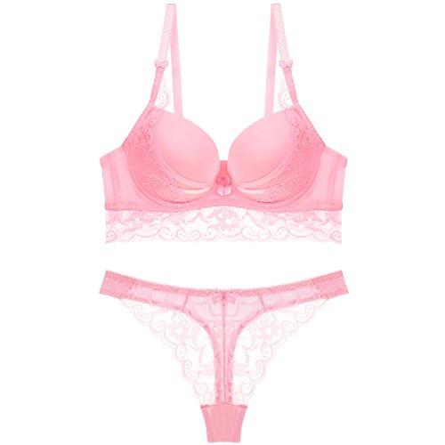 Scarleti Women's Sexy Floral Lace Sheer Underwear Bra Panty Set Thong (80B, Pink) -