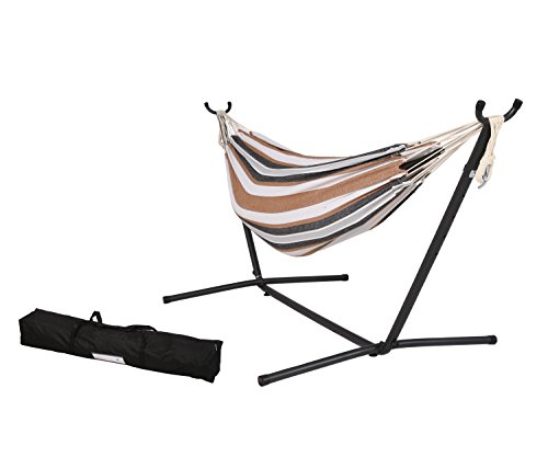 Ulax furniture Double Hammock with Steel Stand and Portable Carrying Case, Desert Moon