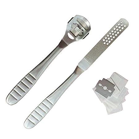 iZoeL callo rimozione di lima e raspa per la cura dei piedi rimuove calli e pelle morta acciaio inox manico in legno 10 lame di ricambio & superficie Abrasiva lame incluse