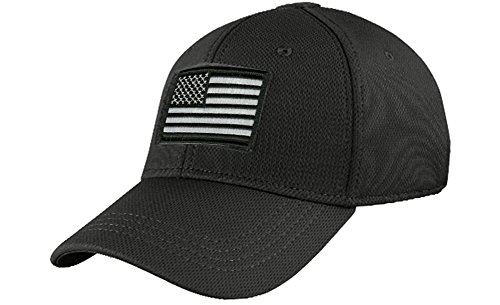 (Condor Fitted Tactical Cap Bundle (USA/DTOM Patches) - Black L/XL)