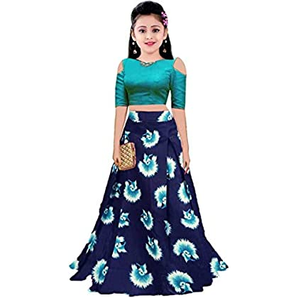 Leons Fab Girl's MulticolourSatin Digital Printed Lehenga Choli (Mix_FreeSize 10-15)