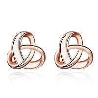 Buycitky Twist Love Nnot Stud Earrings para mujer, niña 14k chapado en oro rosa corazón pendientes post