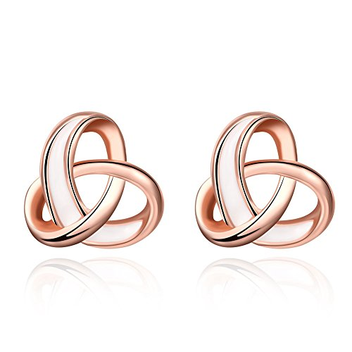 14k Heart Earring Gold Dangle - Love Knot Heart Stud Earrings 14k Rose Gold Fashion Earring Studs for Women Girls Best Friend