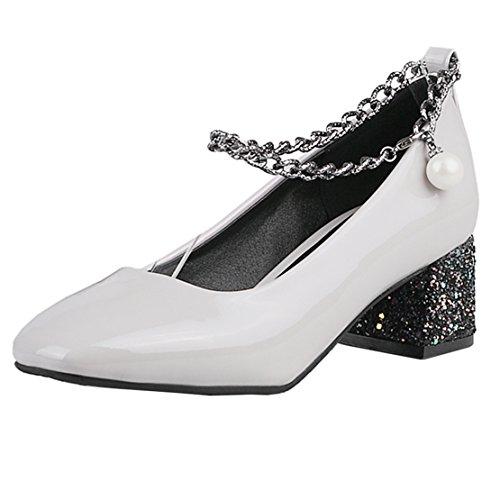 AIYOUMEI Damen Chunky Heel Lack Mary Jane Pumps mit 5cm Absatz und Perlen Bequem Schuhe K1M3iTTr6
