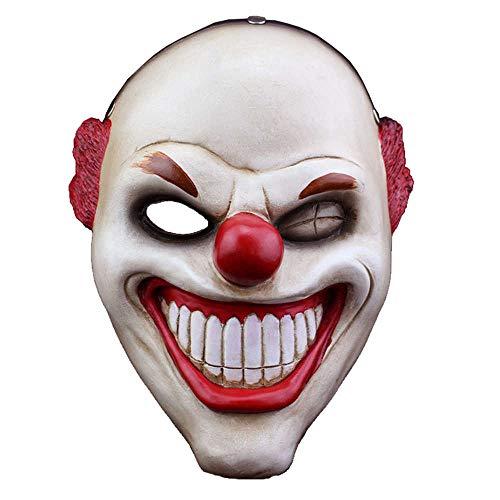 PAYDAY 2 The Heist Joker Clown Red Nose Mask Props Horror Halloween Resin Mask]()