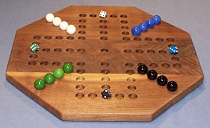 Wooden Marble Game Board Aggravation 18 Octagon Black Walnut 4 Player 5 Hole Oiled