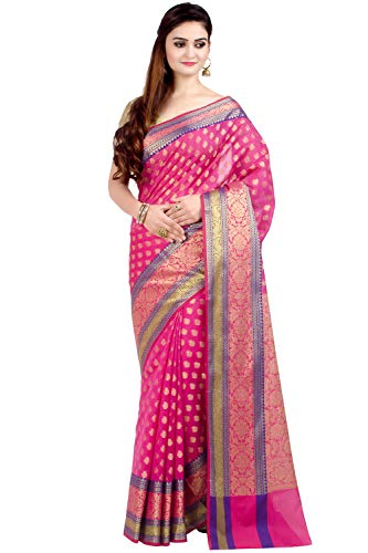 - Chandrakala Women's Pink Cotton Silk Blend Banarasi Saree,Free Size(1081PIN)