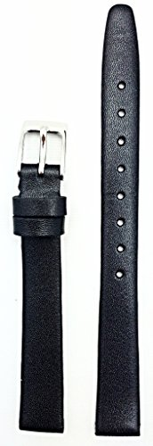 12mm Long, Black, Flat, Elegant Calf Leather Watchband