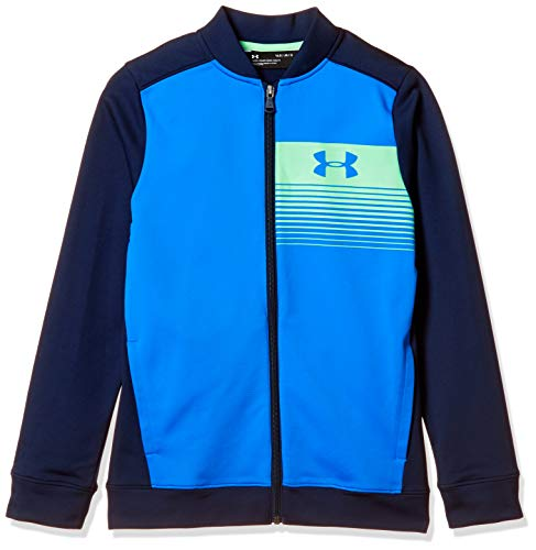 Under Armour Boys Novelty Pennant Jacket, Blue Circuit (436)/Green Typhoon, Youth Large