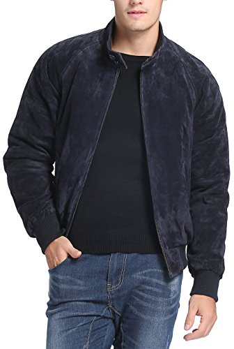 (Landing Leathers Men's WWII Suede Leather Bomber Jacket - XL Navy)