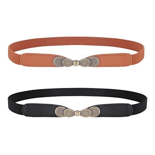 WERFORU Damen Skinny Elastic Stretch Gürtel für Kleider Retro Damen Vintage Thin Waist Belt