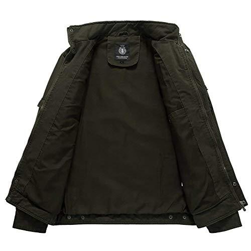 Outwear Front Armee Coat Outdoor Men's Pocket Collar Jacket grün Sleeve Stand Long Huixin Coat Zipper Buttons with Jackets Apparel H1q6wwWf