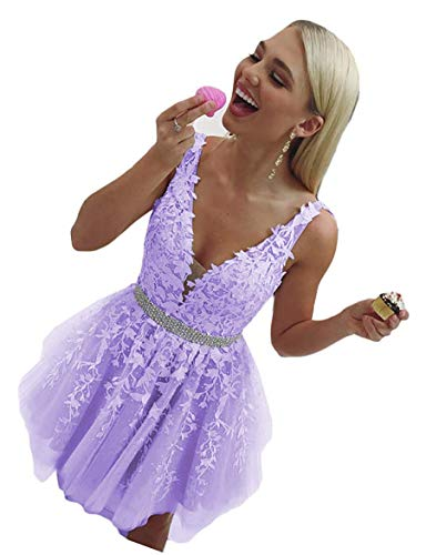 Martha Lia A-Line Vneck Short Homecoming Dress Beading Applique Prom Party Gown Lavender