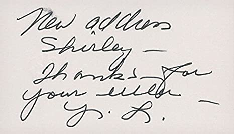 Signed Lary Yale Business Card On The Back Autographed At Amazons