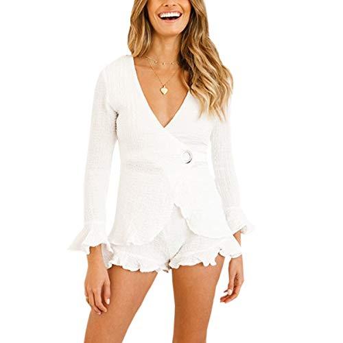 Women's Two Piece Sets Bat Sleeve Deep V Neck Shirt +Pleat Short (Color : White, Size : L)