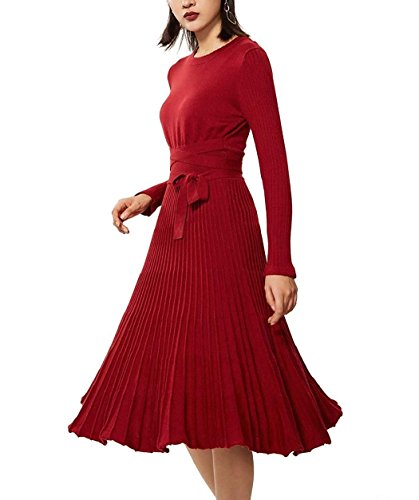 Maxi Primavera Cachemire Lungo Vestito Del Di Vestito Venustar Delle rosso 01 Inverno Maglione Casuale Donne Vestito AqnPxF47aw