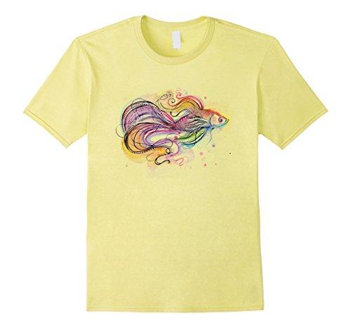 Men's Betta Fish Art T-shirt 2XL Lemon (Betta Fish T Shirt)