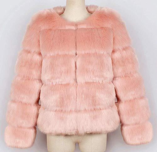 capuche fine Veste ouverte fourrure rose synthétique en Zhrui taille rose à pour couleur femmes XL q1UAc