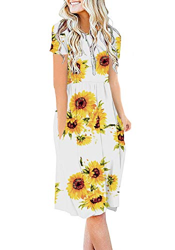 DB MOON Womens Summer Casual Empire Waist Dresses with Pockets (F Sun White,2XL)