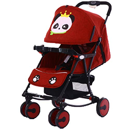 DYFAR Fashion Four Seasons prams fold High Landscape Toddlers Baby pushchairs Bidirectional Newborn Strollers Suitable for Children 0-3 Years Old, red