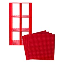 "Premium Red Stackable Base Plates - 4 Pack 6"" x 6"" Baseplate Bundle with 30 Red New and Improved 2 X 2 Stackers - Compatible with All Major Brands"