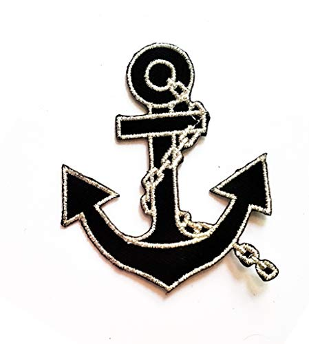 Nipitshop Patches Nautical Black Anchor with Silver Rope Cartoon Patch Embroidered Iron On Patch for Clothes Backpacks T-Shirt Jeans Skirt Vests Scarf Hat Bag